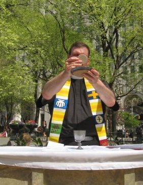 Fr. Unterseher presides at eucharist in Madison Square Park, NYC, April, 2009.