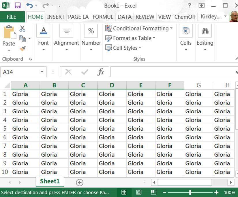 Gloria in Excel sheet