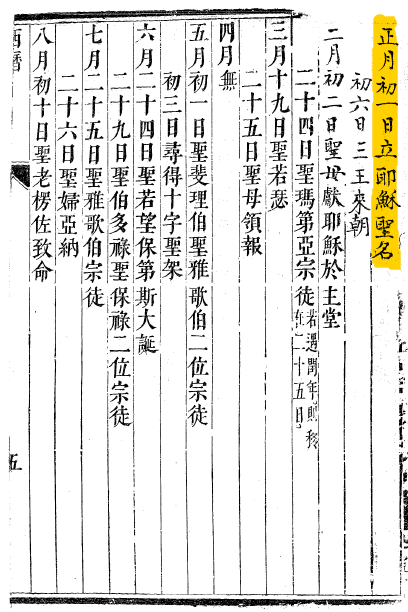General Calendar of the 1670 Chinese Missal