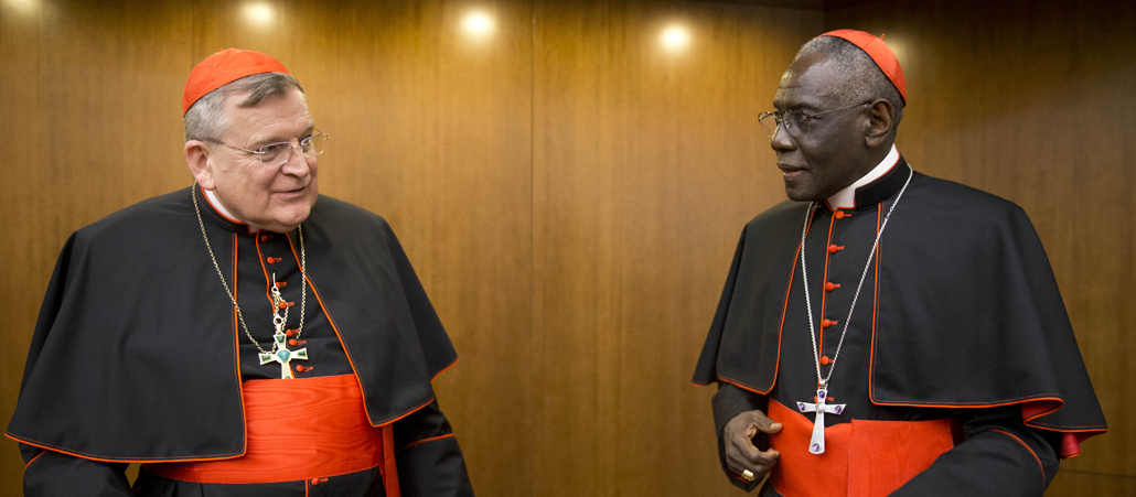 Cardinal Raymond Leo Burke, left, talks with Cardinal Robert Sarah, prefect of the Congregation for Divine Worship and the Discipline of the Sacraments, as he arrives for the presentation of his book Divine Love Made Flesh, in Rome, Wednesday, Oct. 14, 2015. (AP Photo/Andrew Medichini)
