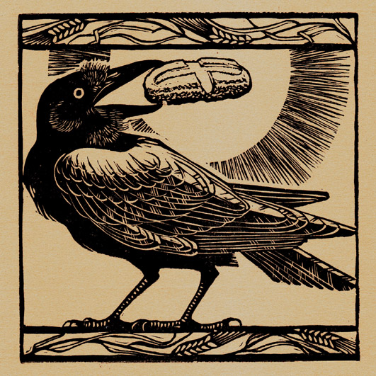 Woodcut, St. Benedict's Raven, by Alison Kubbos