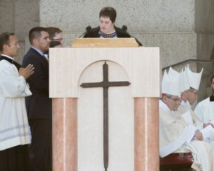 Meghan Jones reading at Papal Mass