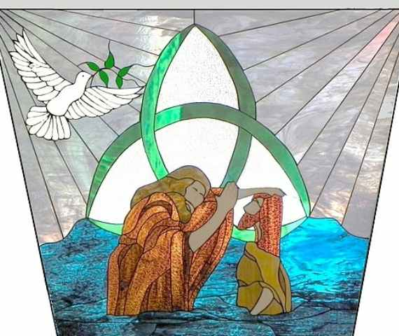 Stained glass image of baptism of Jesus