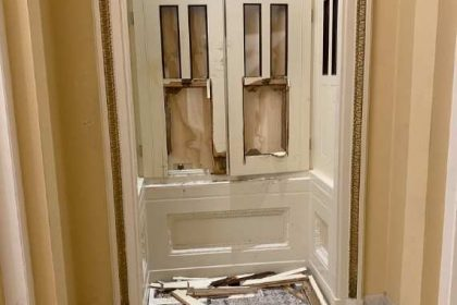 Damage to a door in the US Capitol building